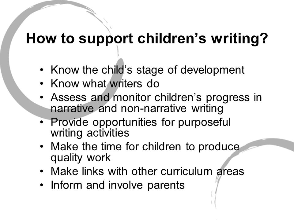 How to support children's writing.