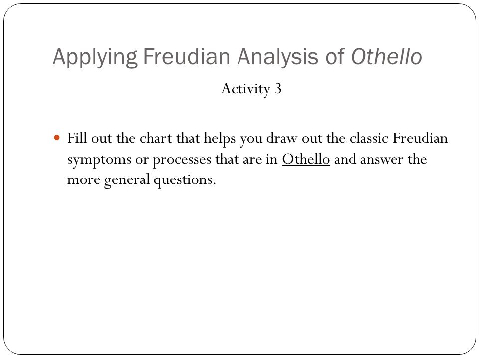 Chart Classic Freudian Symptoms Seen in OthelloHow does the presence of this element influence the text as a whole and your reading of it.