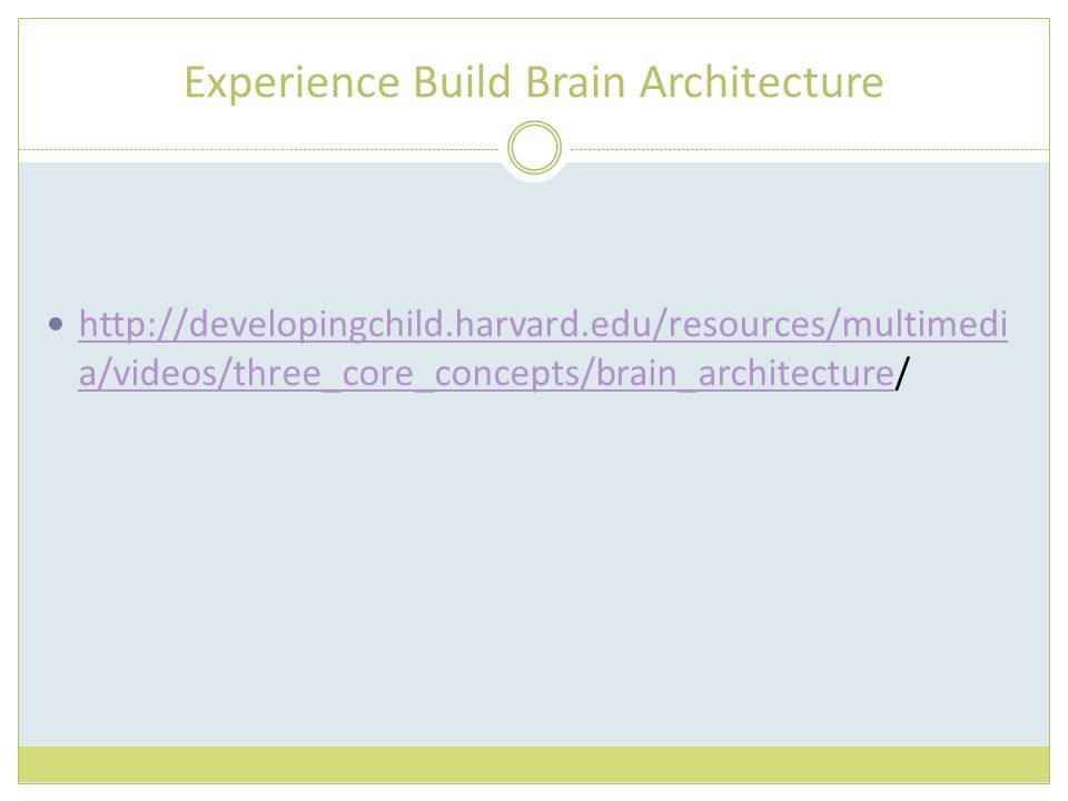 Experience Build Brain Architecture http://developingchild.harvard.edu/resources/multimedi a/videos/three_core_concepts/brain_architecture/ http://dev