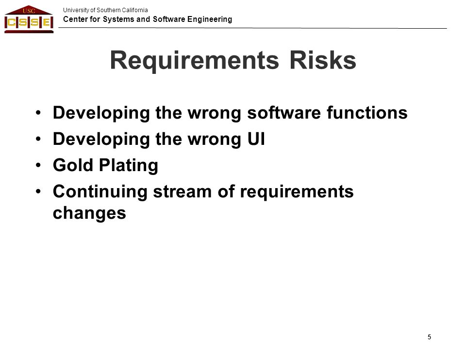 University of Southern California Center for Systems and Software Engineering Straining Computer Science Capabilities (1989) Distributed Processing Artificial Intelligence Domains Human-machine performance Algorithm speed and accuracy Information privacy and security protection High reliability and fault tolerance 6