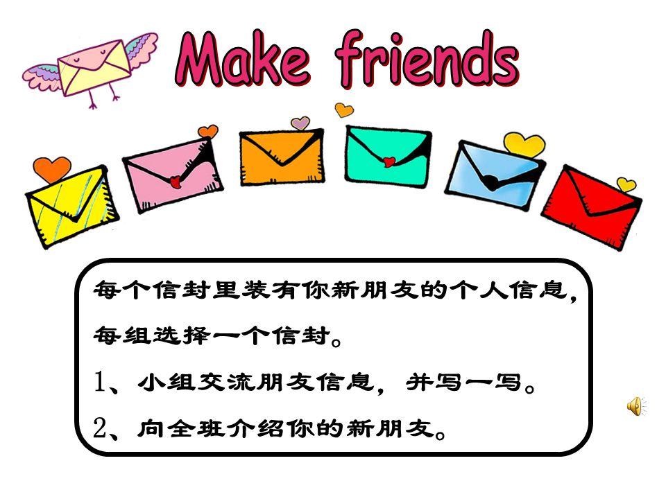 每个信封里装有你新朋友的个人信息, 每组选择一个信封。 1、小组交流朋友信息,并写一写。 2、向全班介绍你的新朋友。