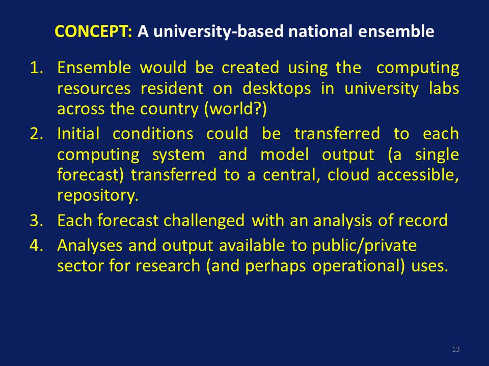 CONCEPT: A university-based national ensemble 1.Ensemble would be created using the computing resources resident on desktops in university labs across the country (world ) 2.Initial conditions could be transferred to each computing system and model output (a single forecast) transferred to a central, cloud accessible, repository.
