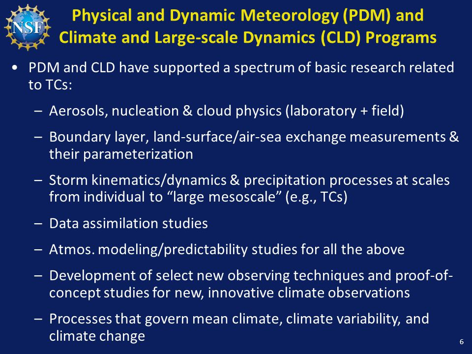 Physical and Dynamic Meteorology (PDM) and Climate and Large-scale Dynamics (CLD) Programs PDM and CLD have supported a spectrum of basic research related to TCs: –Aerosols, nucleation & cloud physics (laboratory + field) –Boundary layer, land-surface/air-sea exchange measurements & their parameterization –Storm kinematics/dynamics & precipitation processes at scales from individual to large mesoscale (e.g., TCs) –Data assimilation studies –Atmos.