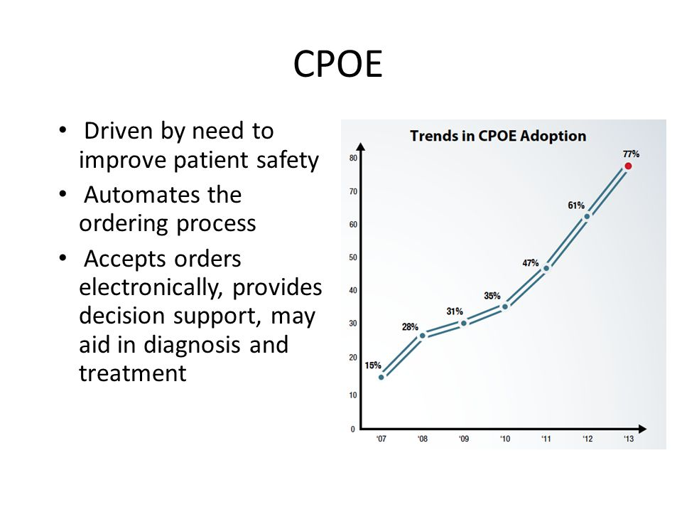 CPOE Driven by need to improve patient safety Automates the ordering process Accepts orders electronically, provides decision support, may aid in diagnosis and treatment