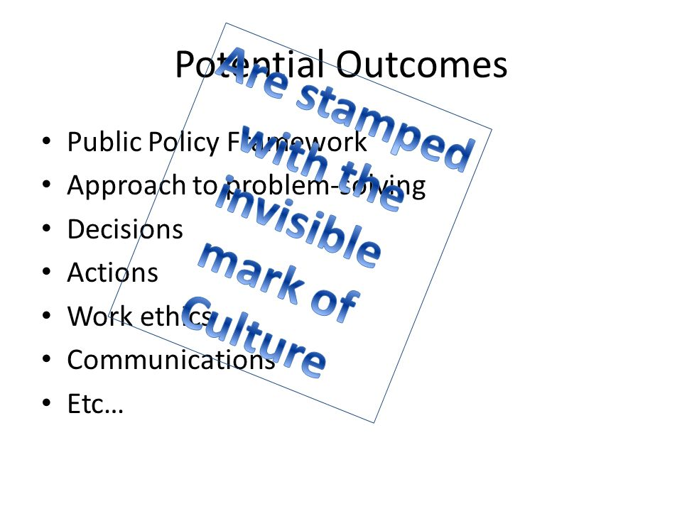 Potential Outcomes Public Policy Framework Approach to problem-solving Decisions Actions Work ethics Communications Etc…