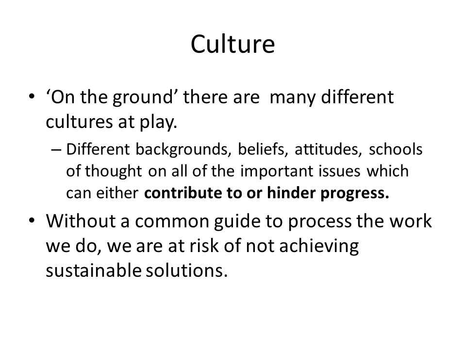 Culture 'On the ground' there are many different cultures at play.