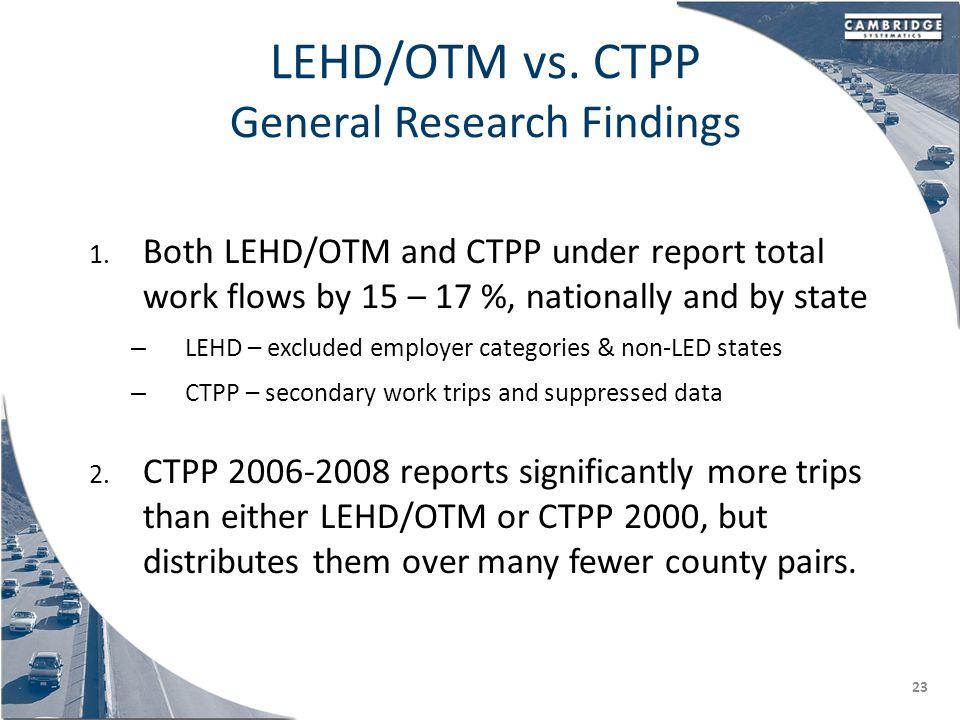 LEHD/OTM vs. CTPP General Research Findings 1.