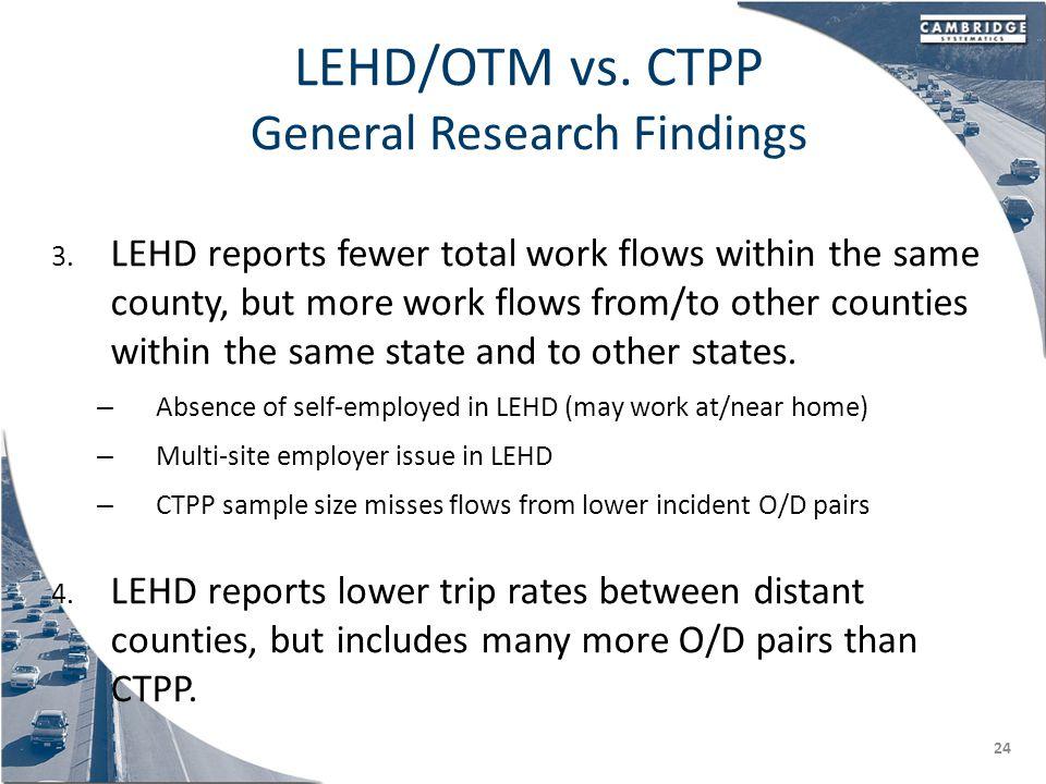 LEHD/OTM vs. CTPP General Research Findings 3.