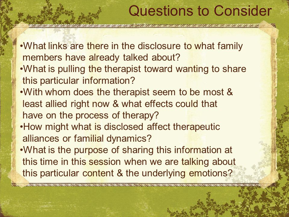 What links are there in the disclosure to what family members have already talked about.