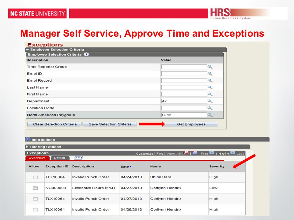 Manager Self Service, Approve Time and Exceptions