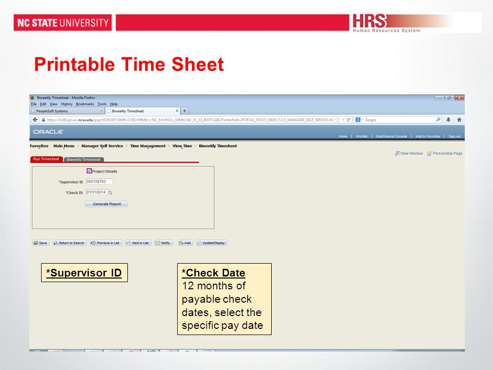 Printable Time Sheet *Supervisor ID*Check Date 12 months of payable check dates, select the specific pay date