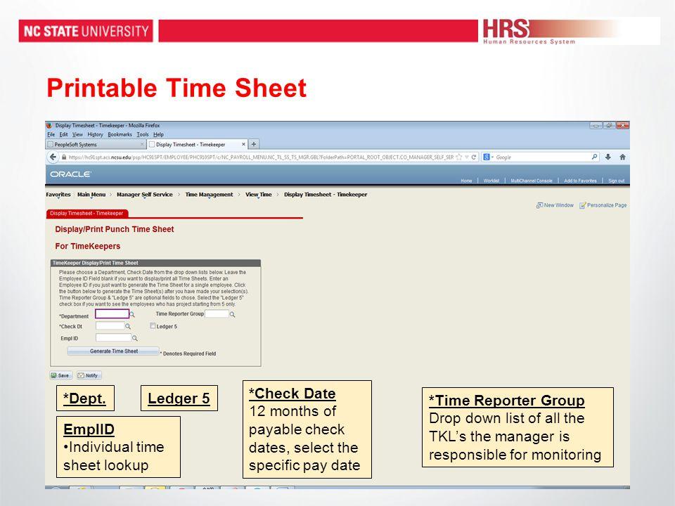 Printable Time Sheet *Dept.