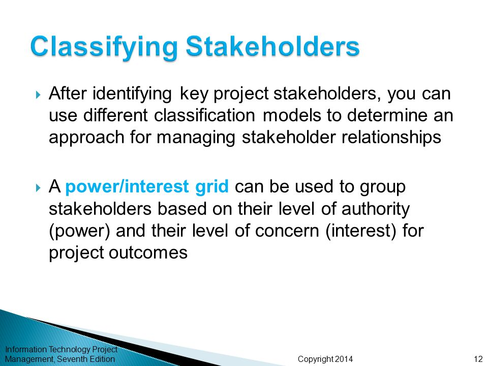 Copyright 2014  After identifying key project stakeholders, you can use different classification models to determine an approach for managing stakeho