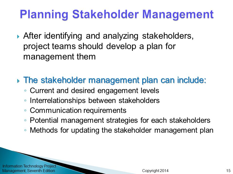Copyright 2014  After identifying and analyzing stakeholders, project teams should develop a plan for management them  The stakeholder management pl