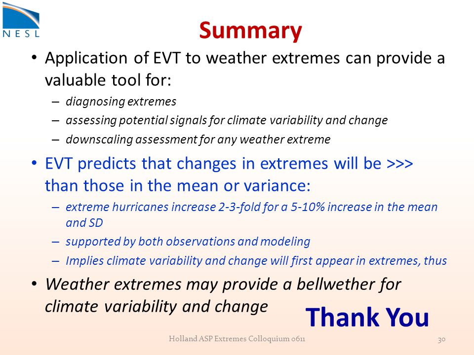 Summary Application of EVT to weather extremes can provide a valuable tool for: – diagnosing extremes – assessing potential signals for climate variability and change – downscaling assessment for any weather extreme EVT predicts that changes in extremes will be >>> than those in the mean or variance: – extreme hurricanes increase 2-3-fold for a 5-10% increase in the mean and SD – supported by both observations and modeling – Implies climate variability and change will first appear in extremes, thus Weather extremes may provide a bellwether for climate variability and change Holland ASP Extremes Colloquium 061130 Thank You