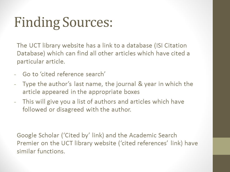 Selecting sources Preview: Go through the titles of the readings, narrow down to the ones you think are most relevant.