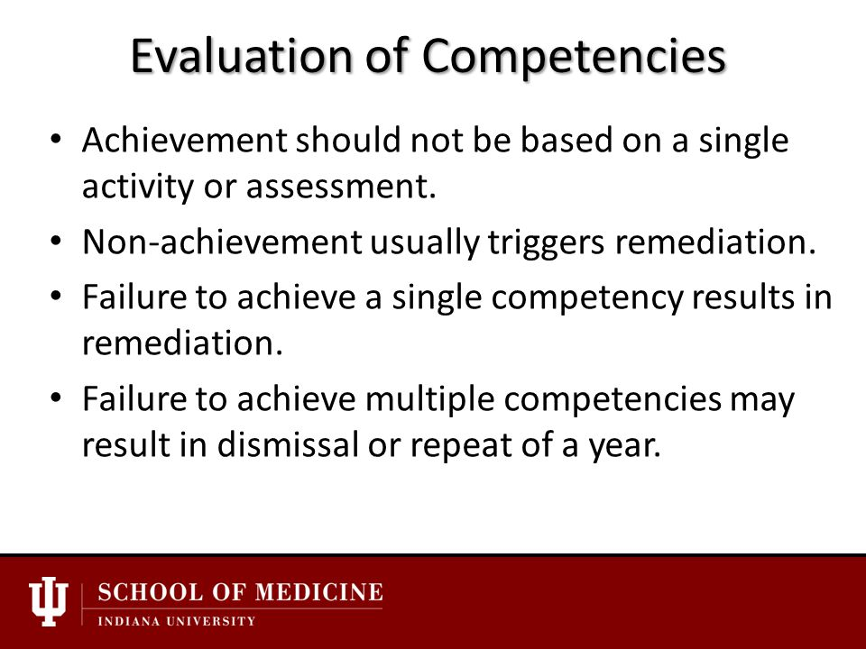 Evaluation of Competencies Achievement should not be based on a single activity or assessment.