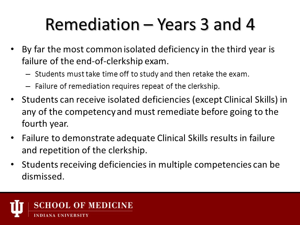 Remediation – Years 3 and 4 By far the most common isolated deficiency in the third year is failure of the end-of-clerkship exam.