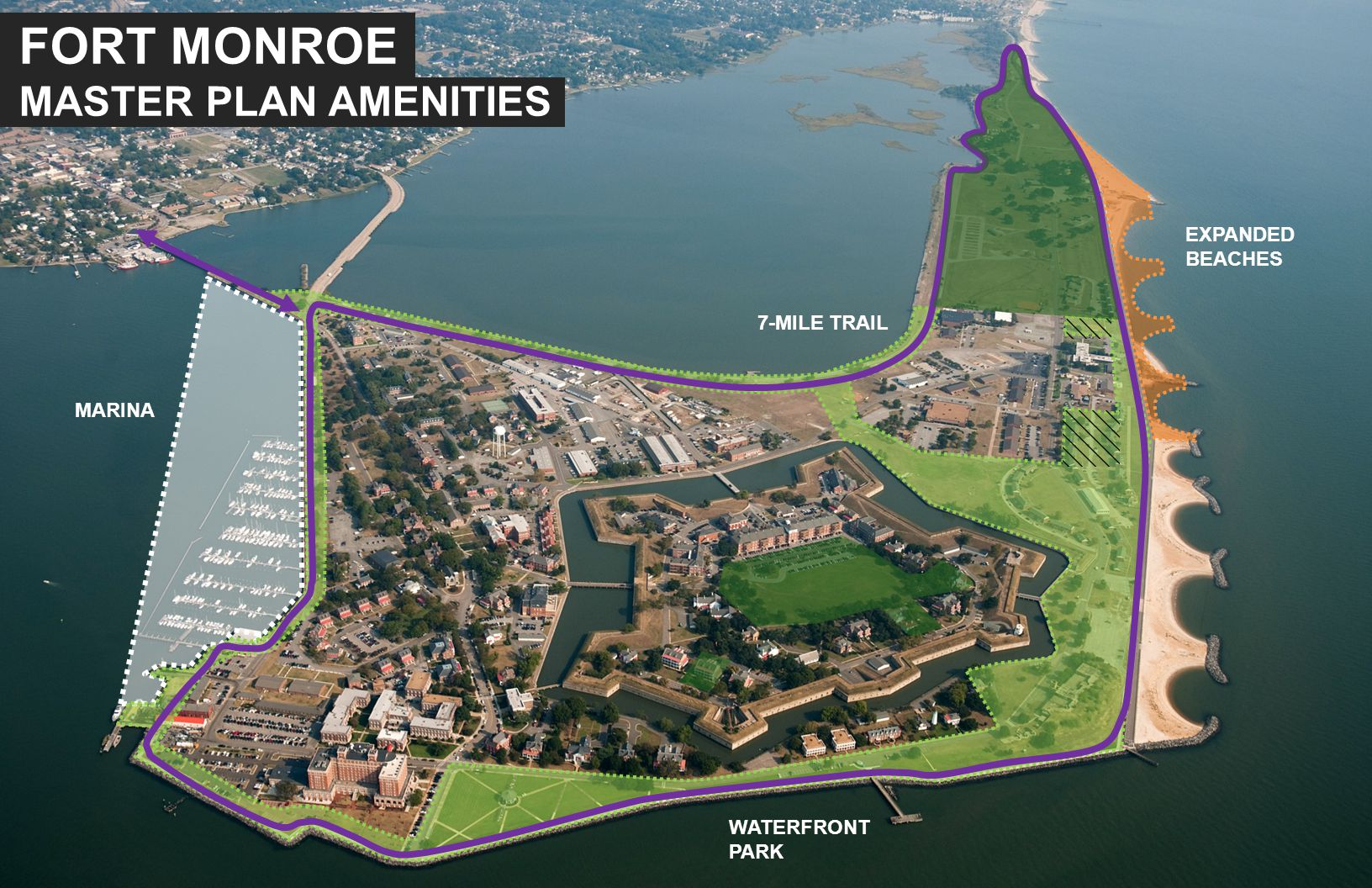 MARINA WATERFRONT PARK EXPANDED BEACHES 7-MILE TRAIL FORT MONROE MASTER PLAN AMENITIES