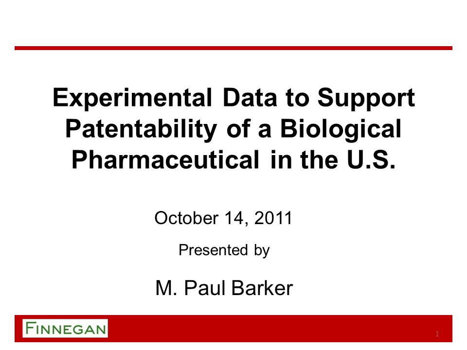 Speaker Information Paul Barker practices patent prosecution, patent interferences, and strategic counseling, with a particular focus in the fields of biotechnology and pharmaceuticals.