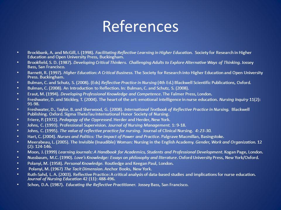 References Brockbank, A. and McGill, I. (1998).