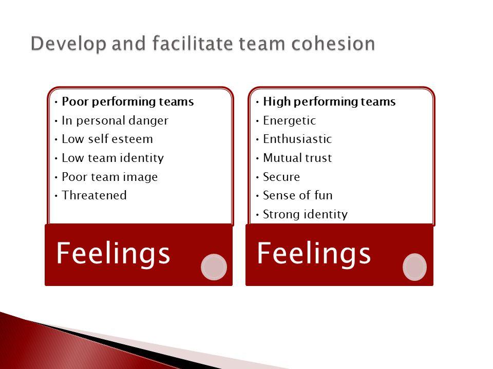 Poor performing teams In personal danger Low self esteem Low team identity Poor team image Threatened Feelings High performing teams Energetic Enthusi
