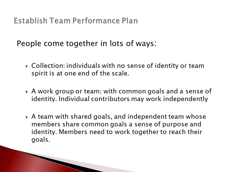 People come together in lots of ways :  Collection: individuals with no sense of identity or team spirit is at one end of the scale.  A work group o
