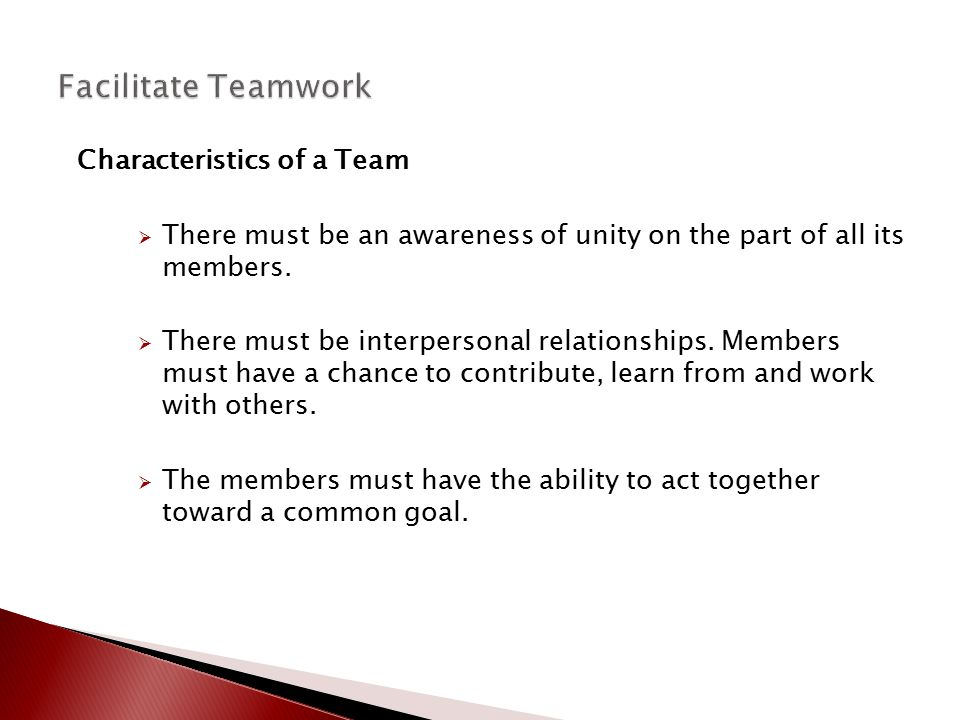 Characteristics of a Team  There must be an awareness of unity on the part of all its members.  There must be interpersonal relationships. Members m