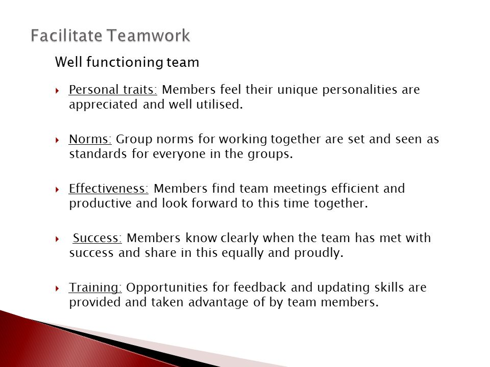 Well functioning team  Personal traits: Members feel their unique personalities are appreciated and well utilised.  Norms: Group norms for working t