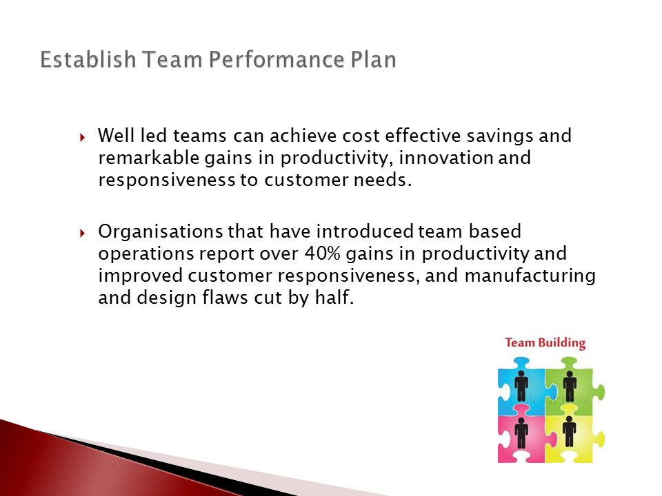  Well led teams can achieve cost effective savings and remarkable gains in productivity, innovation and responsiveness to customer needs.  Organisat
