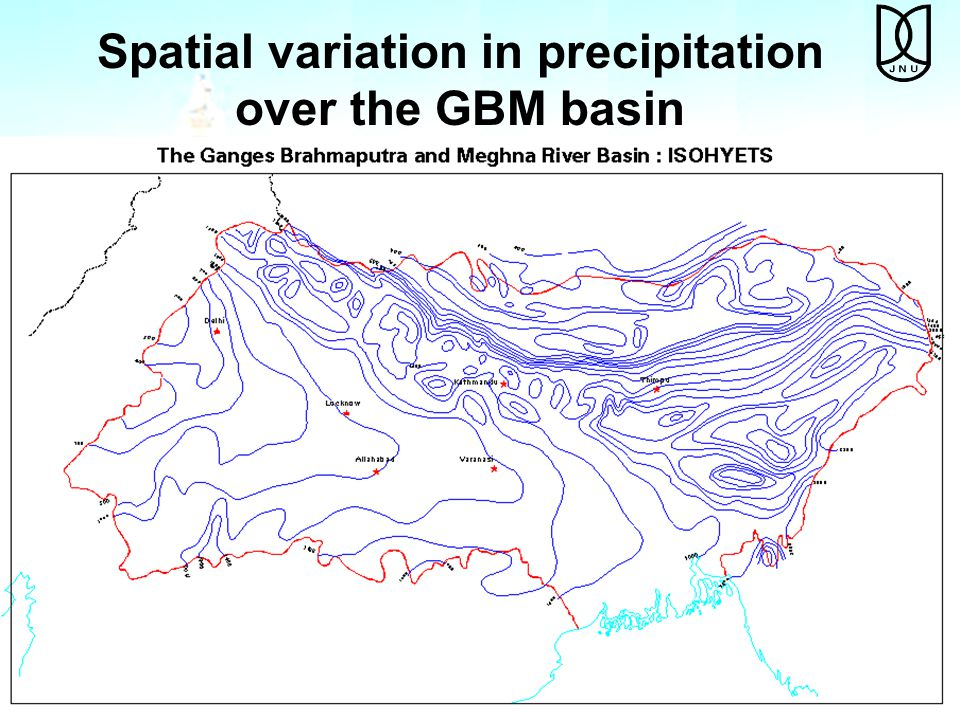 Spatial variation in precipitation over the GBM basin
