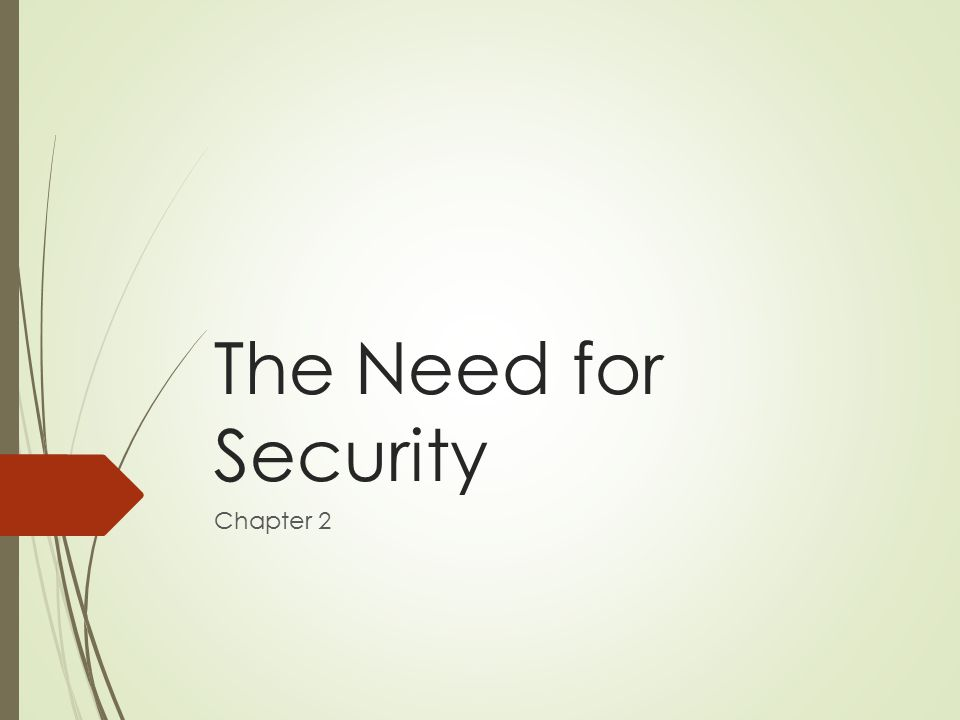 The Need for Security Chapter 2