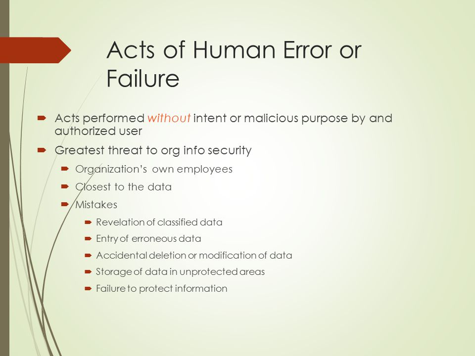Acts of Human Error or Failure  Acts performed without intent or malicious purpose by and authorized user  Greatest threat to org info security  Organization's own employees  Closest to the data  Mistakes  Revelation of classified data  Entry of erroneous data  Accidental deletion or modification of data  Storage of data in unprotected areas  Failure to protect information