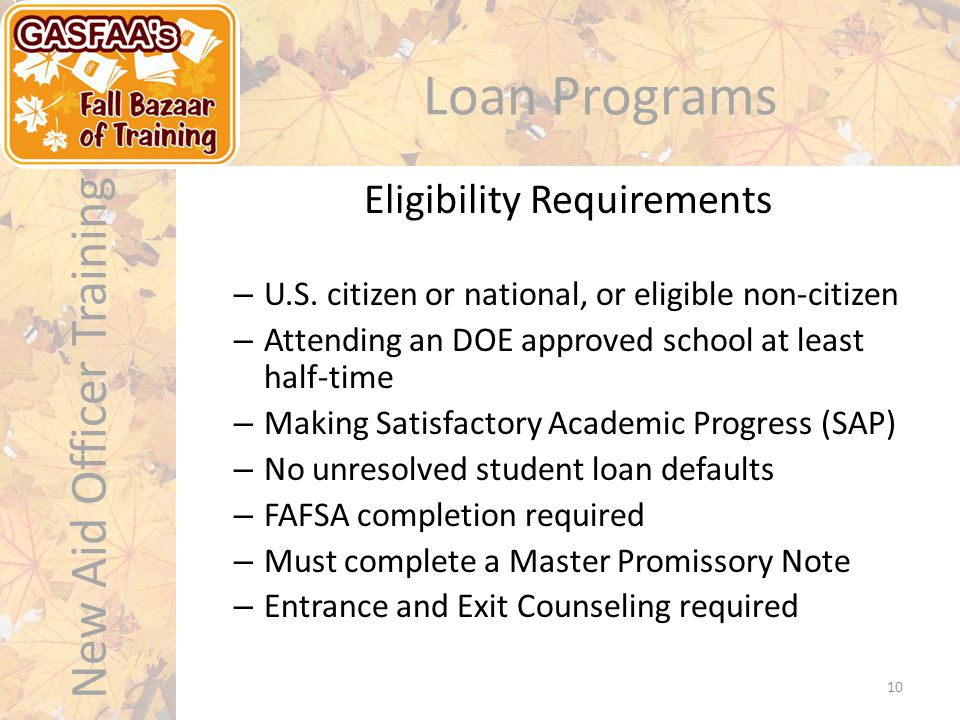 New Aid Officer Training Loan Programs – U.S.