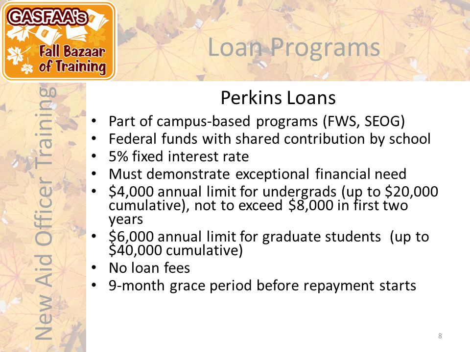 New Aid Officer Training Loan Programs Private loans are made available by private lending institutions to fill the gap between cost of attendance and aid received Private/alternative loans are not regulated by the federal government Rates and terms vary greatly by lender and program of study Private Loans 9