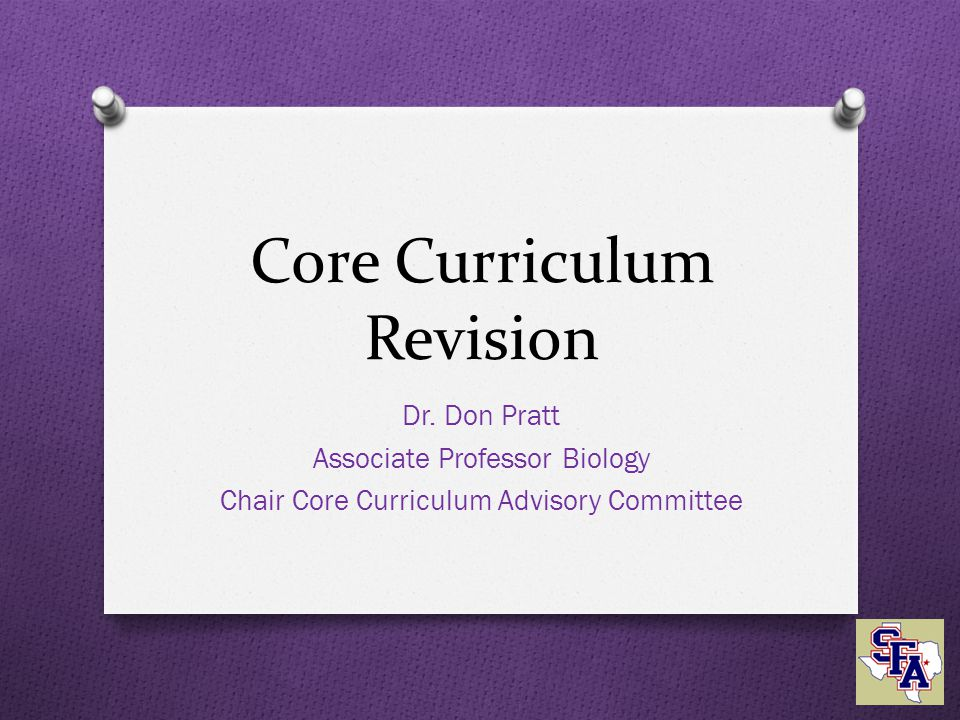 Core Curriculum Revision Dr.