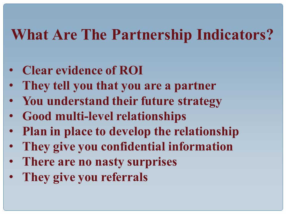 What Are The Partnership Indicators.