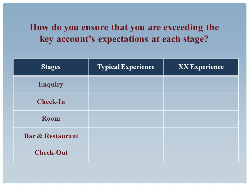 How do you ensure that you are exceeding the key account's expectations at each stage.