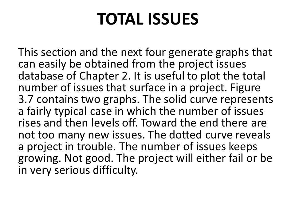 TOTAL ISSUES This section and the next four generate graphs that can easily be obtained from the project issues database of Chapter 2. It is useful to