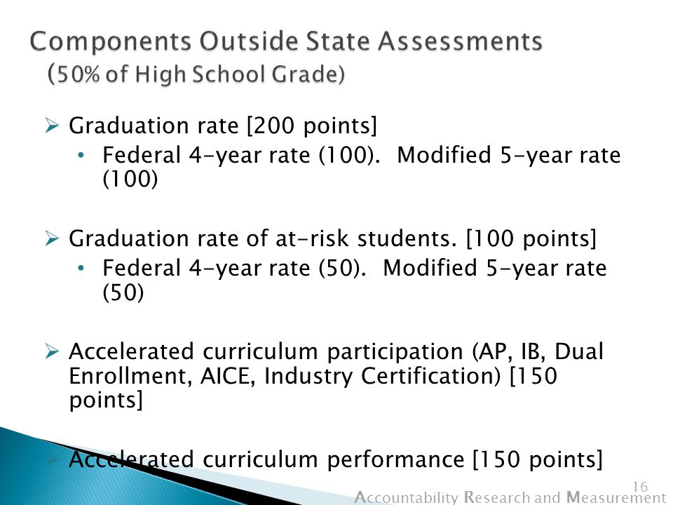 A ccountability R esearch and M easurement 16  Graduation rate [200 points] Federal 4-year rate (100).
