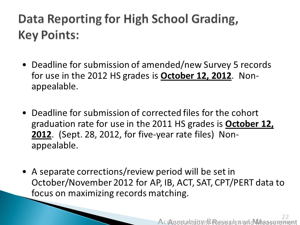 A ccountability R esearch and M easurement 22 Deadline for submission of amended/new Survey 5 records for use in the 2012 HS grades is October 12, 2012.