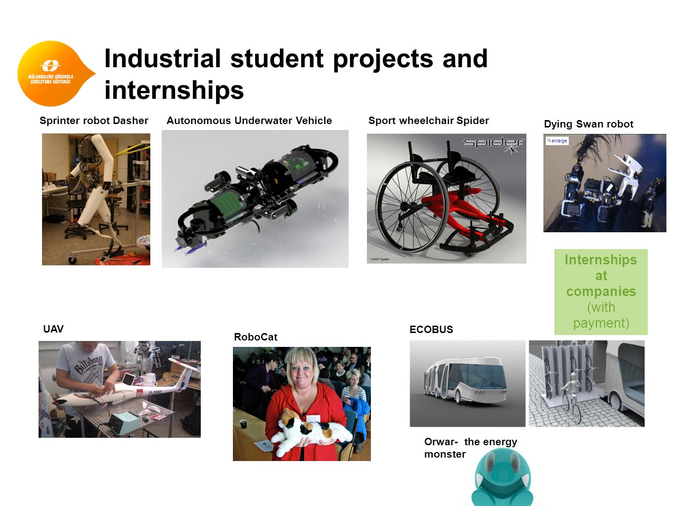 Joint industrial labs (at MDH) ● Industrial Research and Innovation Lab (Ericsson) ● Robotic Lab (several companies involved)