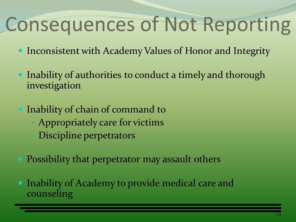 Consequences of Not Reporting Inconsistent with Academy Values of Honor and Integrity Inability of authorities to conduct a timely and thorough invest