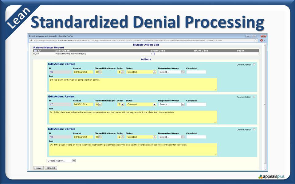 Standardized Denial Processing