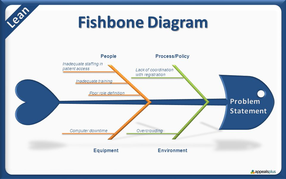 Fishbone Diagram PeopleProcess/Policy EquipmentEnvironment Inadequate staffing in patient access Lack of coordination with registration Computer downtimeOvercrowding Inadequate training Poor role definition