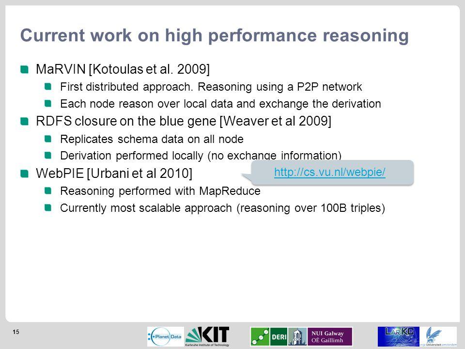 15 Current work on high performance reasoning MaRVIN [Kotoulas et al.