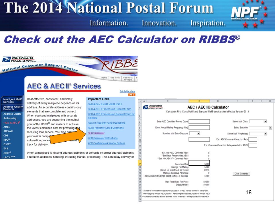 Check out the AEC Calculator on RIBBS ® 18