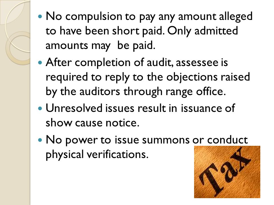 No compulsion to pay any amount alleged to have been short paid.