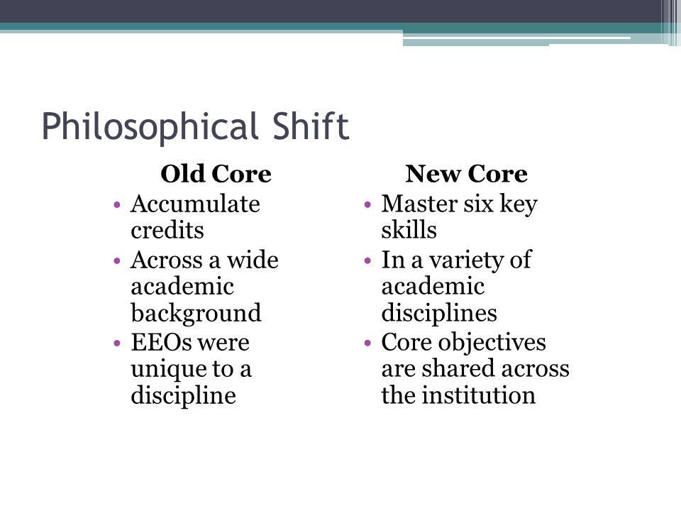 Philosophical Shift Old Core Accumulate credits Across a wide academic background EEOs were unique to a discipline New Core Master six key skills In a variety of academic disciplines Core objectives are shared across the institution