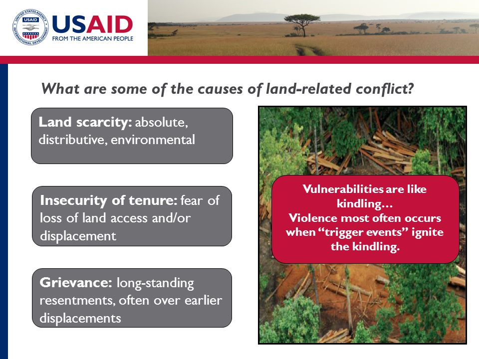 """Vulnerabilities are like kindling… Violence most often occurs when """"trigger events"""" ignite the kindling. Land scarcity: absolute, distributive, enviro"""